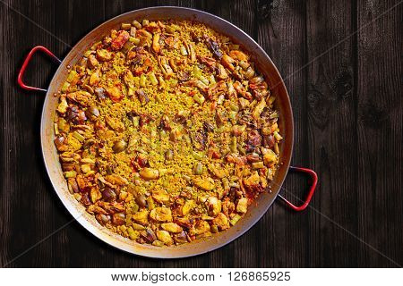 Paella from Spain famous rice recipe from Mediterranean