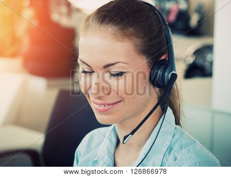 Serious Business Woman Working In Office Talking On Telephone