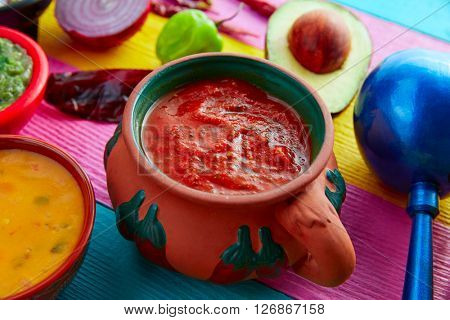 Mexican red sauce with tomato chili peppers and ingredients