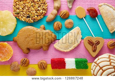 Mexican sweets and pastries cajeta tamarindo coconut flag Palanqueta puerquito