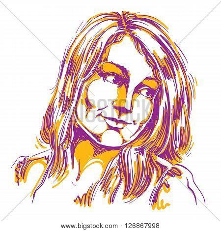 Hand-drawn Portrait Of White-skin Romantic Woman, Face Emotions Theme Illustration. Beautiful Dreamy