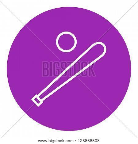 Baseball bat and ball line icon.