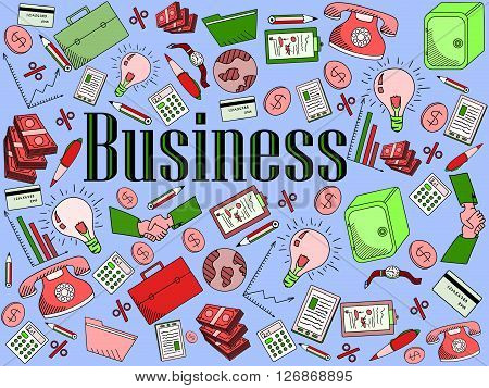 Business line art design vector illustration. Separate objects. Hand drawn doodle design elements.