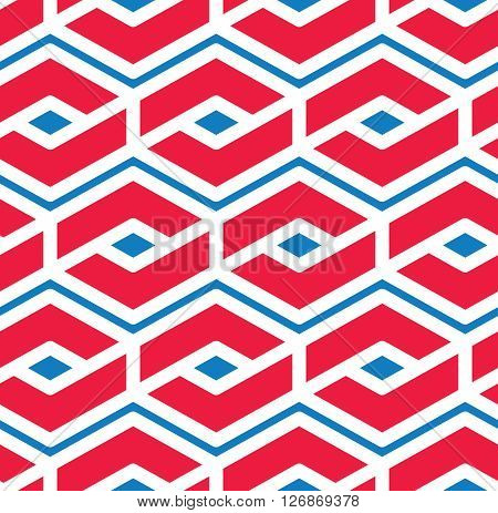 Colorful geometric seamless pattern symmetric endless vector background with intertwine lines.