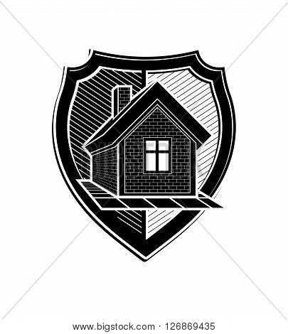 Property protection idea stylized heraldic symbol with classic house.
