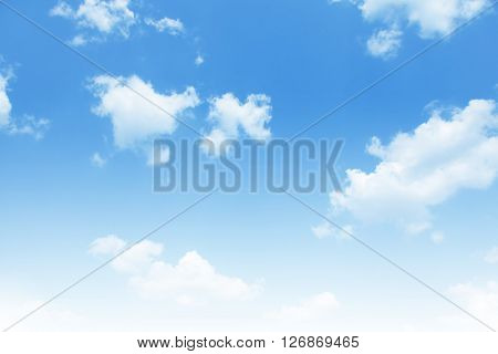 Blue sky with white clouds.