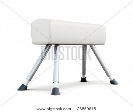 Pommel horse isolated on white background. 3d rendering.