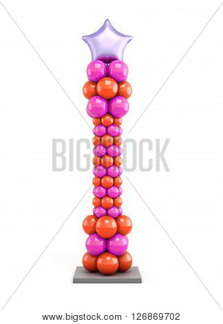 Column of colored balloons isolated on white background. Vertical column with the star. 3d rendering.