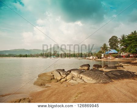 Beautiful sunset landscape with sea gangway stones