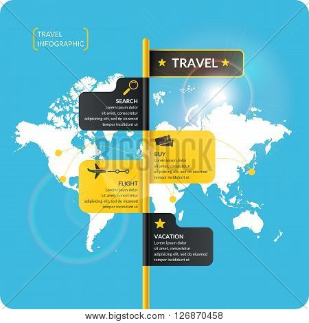 Travel infographics. Buy air tickets.Vector illustration. Poster for sale of trips and tours.