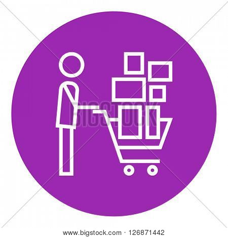 Man pushing shopping cart line icon.