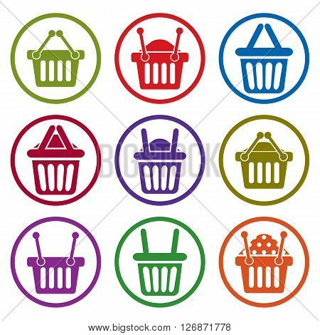 Shopping basket icons isolated on white background vector set supermarket shopping simplistic symbols vector collections.