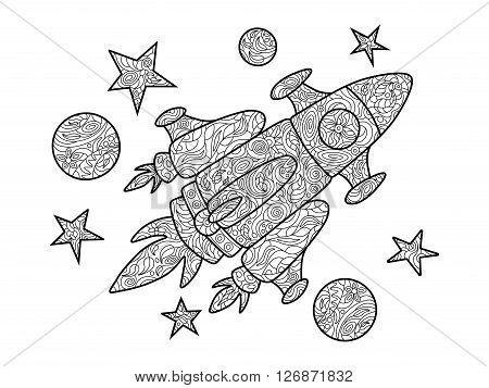 Cartoon spaceship coloring book for adults vector illustration. Anti-stress coloring for adult. Zentangle style. Black and white lines. Lace pattern