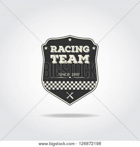 Simple black badge. Racing club emblem with flag and wrench.