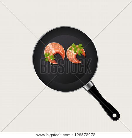 fish in a pan on a white background