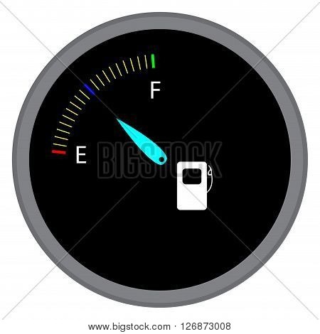 Indicator fuel device. Index and pointer arrow and car indicator measure fuel and power level dashboard. Vector flat design illustration