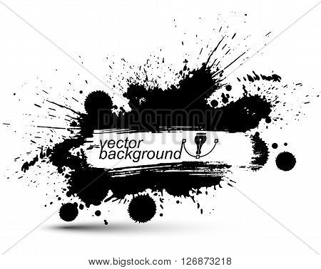 Black and white vector ink splash seamless pattern monochrome dirty graphic art repeat backdrop with overlap acrylic spots scanned and traced.