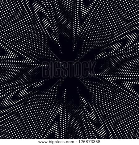 Moire pattern monochrome background with trance effect. Optical illusion creative black and white graphic vector backdrop.