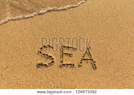 Sea -  written on sandy beach with the soft wave.