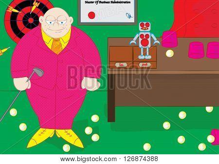 delegatory management style boss enjoying leisure activities