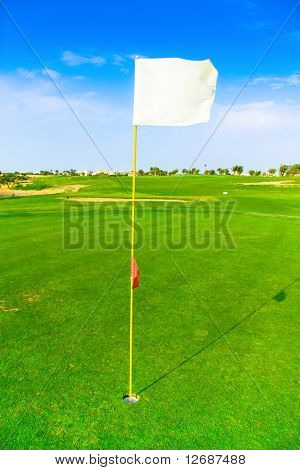 Golf flag spread on the wind