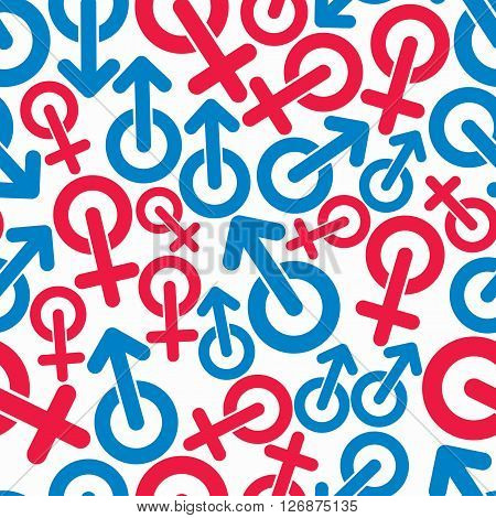 Gender symbols sexual category theme seamless vector backdrop. Male and female symbols can be used in design.