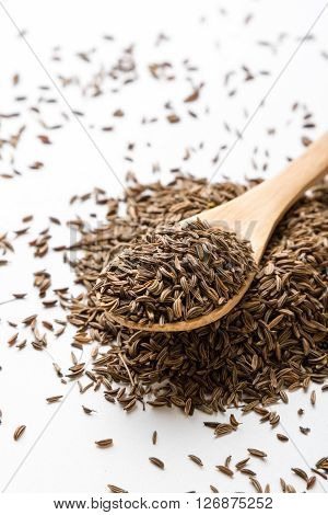 Caraway Seeds On White Table