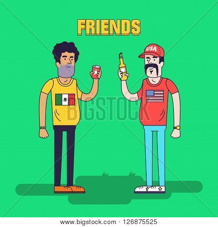 Creative illustration of friendship between mexicans and americans. Friends are drinking beer. Friendly neighborhood between USA and Mexico.