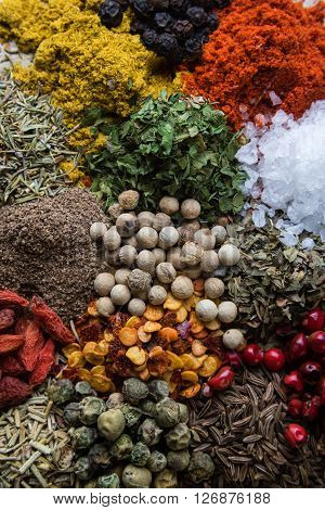 Abundance Of Different Color Spices