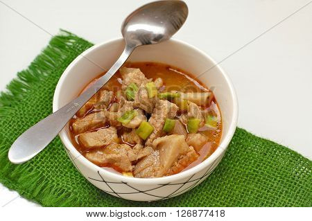 Goulash With Oyster Mushroom In The Bowl On The Green Gunny Cloth