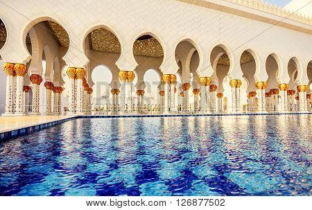Abu Dhabi, UAE- March 2, 2016:Fontaine in Abu Dhabi Sheikh Zayed Grand Mosque UAE