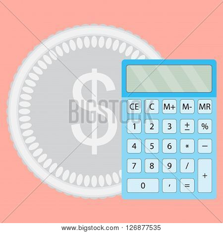 Count money calculator. Finance calculate and saving budget economy finance. Vector flat design illustration