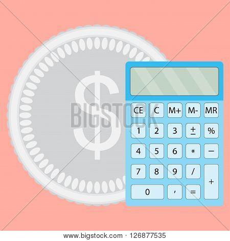 Count money calculator. Finance calculate and saving budget economy finance. Vector flat design illustration