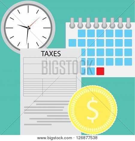 Tax day concept. Tax page and time deadline tax form for government. Vector flat design illustration