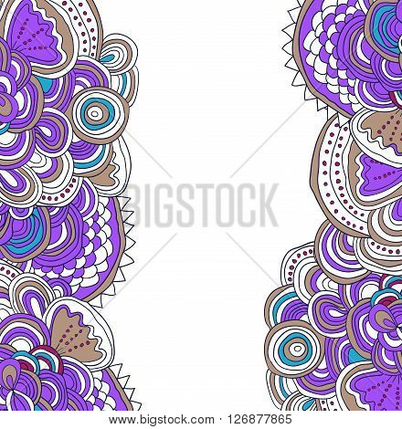 Vector colored hand drawn pattern. Side tracery with white field between. Can be used as card, invitation, background, coloring pages.