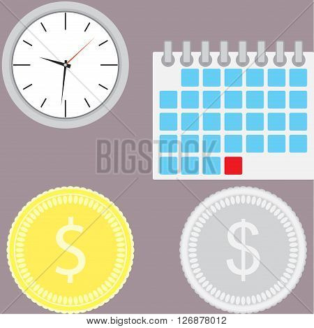 Financial management. Time is money. Money is time management business and investment currency banking profit. Vector flat design illustration