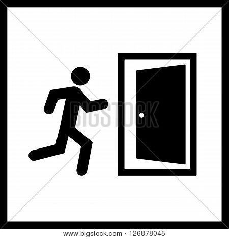 Exit icon.Vector emergency exit sign isolated on a white background with man and door icon