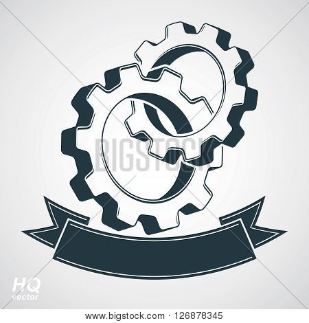 Vector 3d conceptual industry system design element cog wheels merged gears with a decorative curvy ribbon. conceptual symbol.