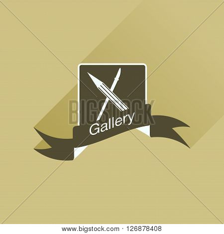 Flat icon with long shadow  Mobile Phone Gallery