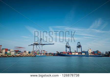 Industrial Container Cargo Freight Shipping By Crane