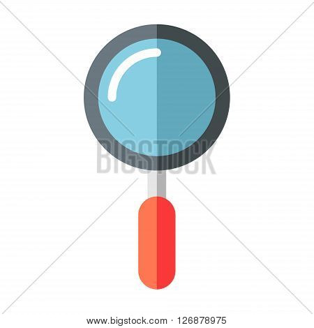 Magnifying glass. Flat vector illustration isolated on white. Magnifying glass flat icon