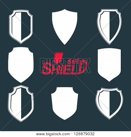 Collection of vector grayscale defense shields protection design graphic elements