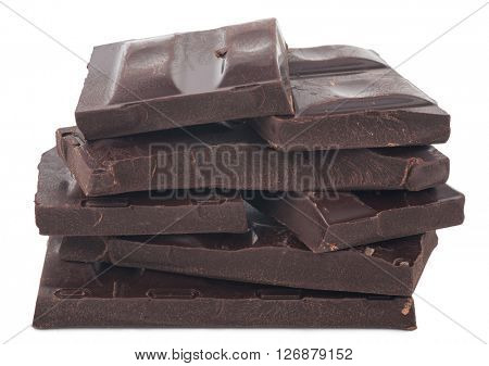 Chocolate stack on the white background