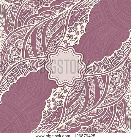 Template flyer or label  with Zen-doodle or Zen-tangle pattern in pearly and lilac colors for  decorate package clothes perfume cosmetic  or creative Post Card or Wedding invitation