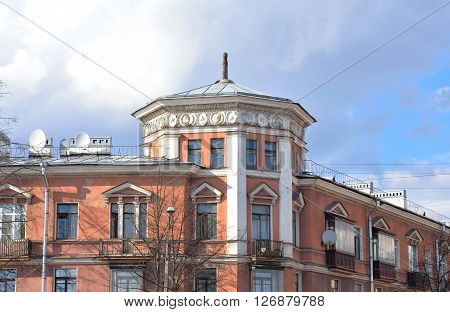 The building in the style of Stalin in Kolpino outskirts of St. Petersburg Russia.