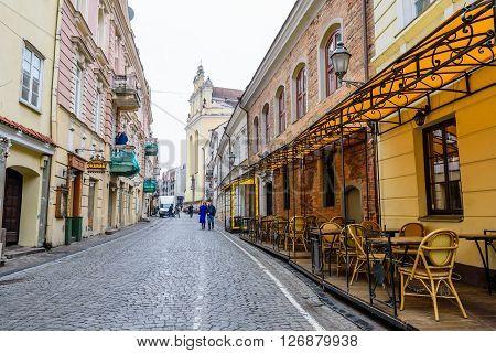 VILNIUS, LITHUANIA - March 7: pedestrian street in the old town in March 7, 2016, in Vilnius, Lithuania.