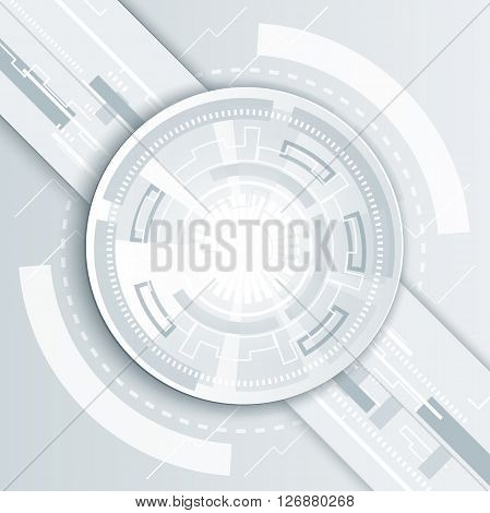 Vector futuristic technology 3d white paper origami wheel on circuit board. Abstract diagonal vector Illustration hi-tech engineering digital internet technology concept on light background.