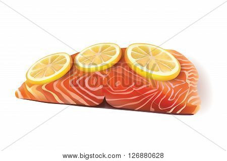 Vector Realistic Fresh Salmon Fish Fillet Cooked with Lemon Slices On the Top. Isolated on White Background illustration