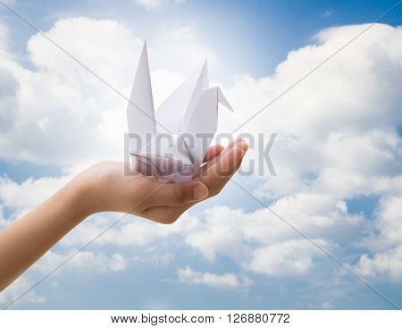 Hand of little girl holding bird paper origami with cloudy blue sky Freedom concept