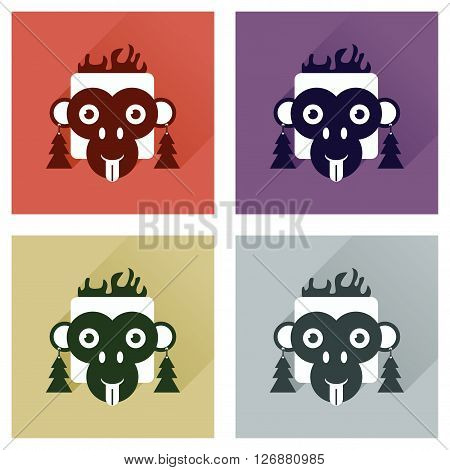 Set of flat icons with long shadow Monkey